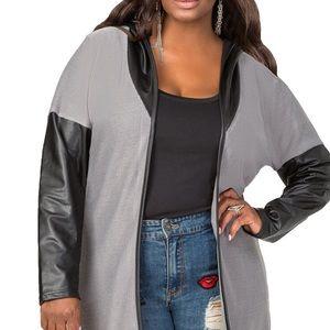 Ashley Stewart faux leather hooded cardigan